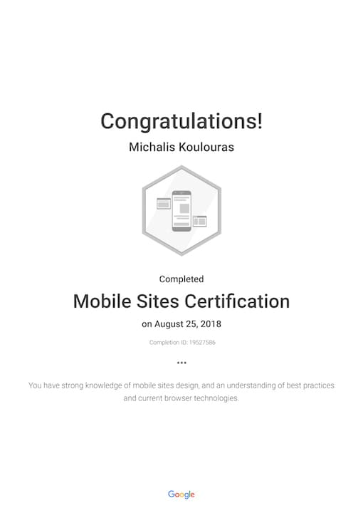 Google Certification | Mobile Sites