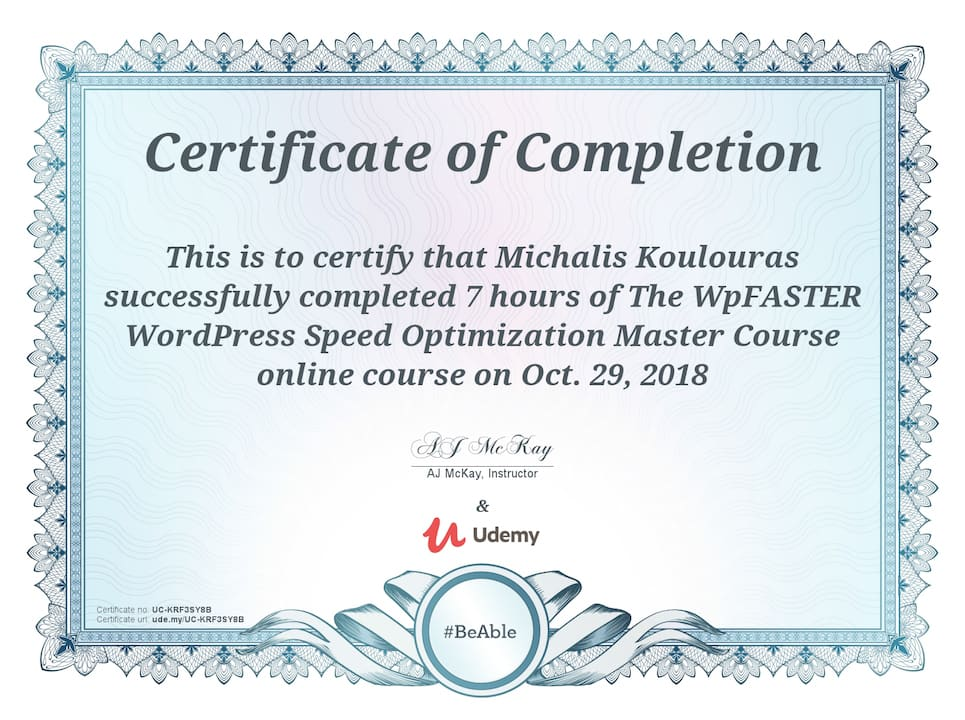 Udemy Certification | WPFaster WordPress