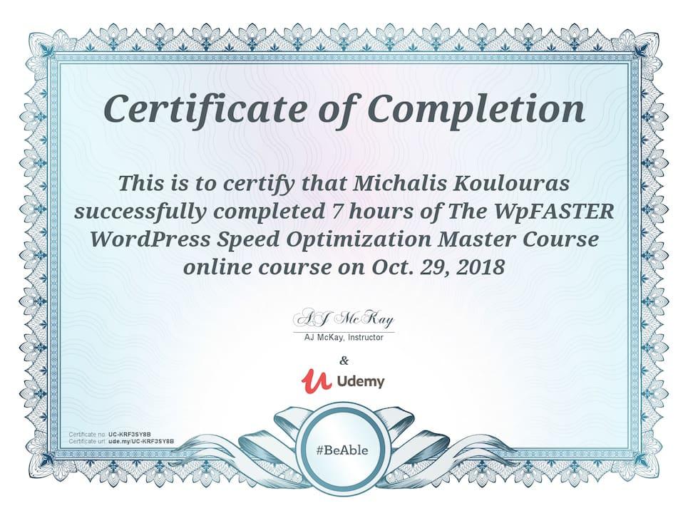 Udemy Certification | WPFaster WordPress